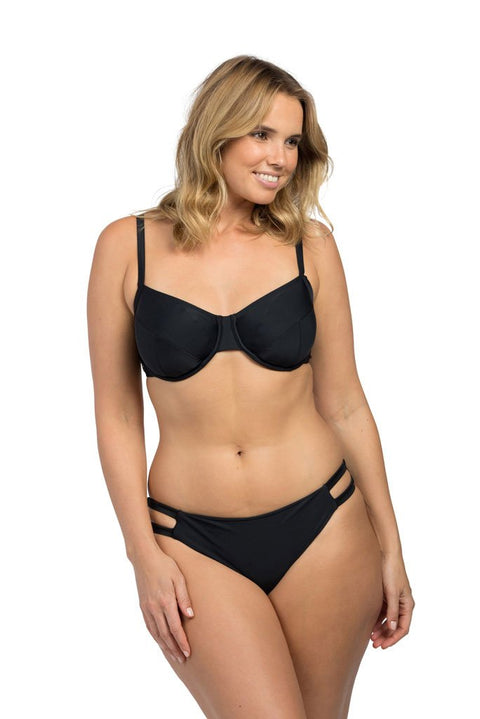 Black Full Cup underwire bra sized Bikini Top