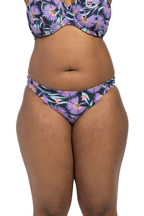 Kimono Ink Cut Out Brief Bikini Bottoms