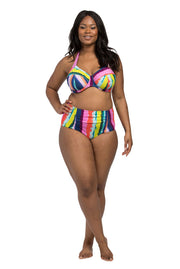 Rainbow Stripe Underwire Halter Bikini Top