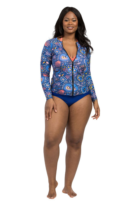 Suzani Indigo Rash Guard UPF50 full length