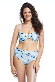 Fleurs Aqua Floral full brief bikini bottoms