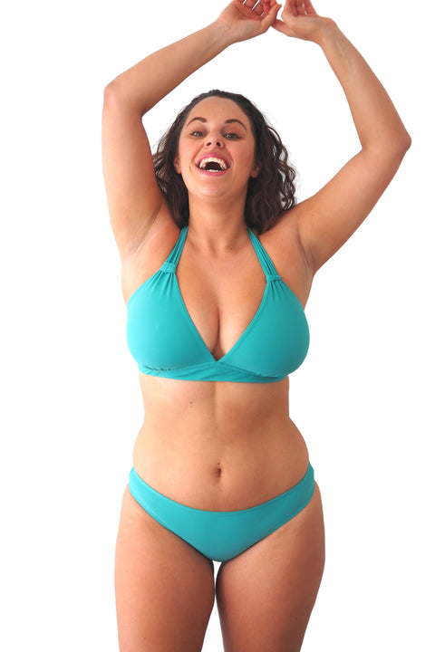 Teal green blue basic brief bikini bottoms