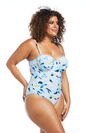 Fleurs Aqua Floral Balconette One Piece Swimsuit