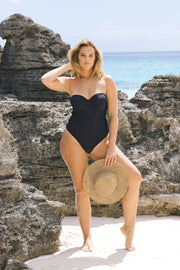 Black Balconette One Piece underwire women's swimsuit