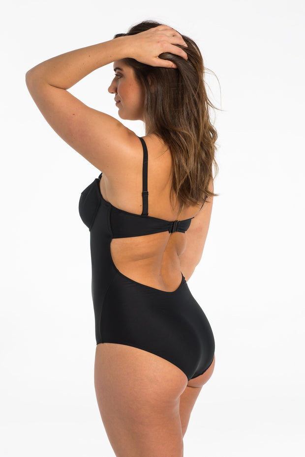 Black Balconette One Piece Swimsuit