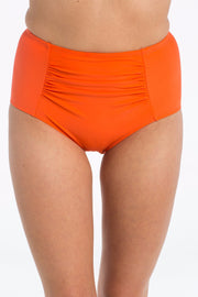 Coral High Waisted Brief Bikini Bottoms