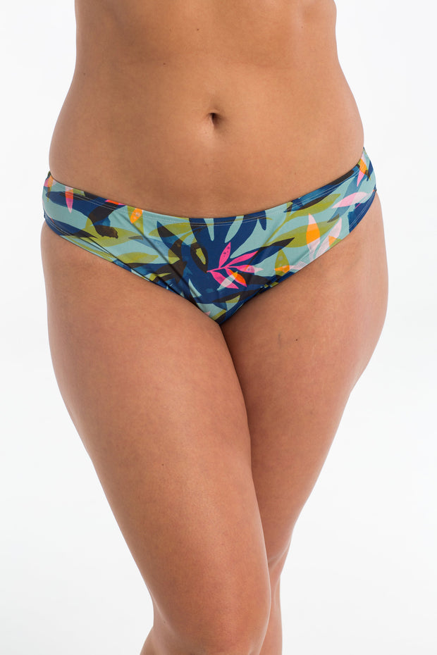 Azure Palm Basic Brief Bikini Bottoms