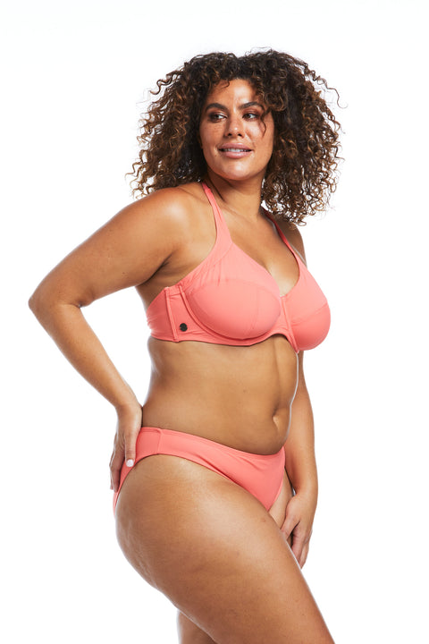 Peach Underwire Halter Supportive Bikini Top