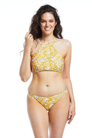Floral cheeky hipster brief bikini bottoms