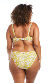 Golden Blossom Floral Basic Brief Bikini Bottoms