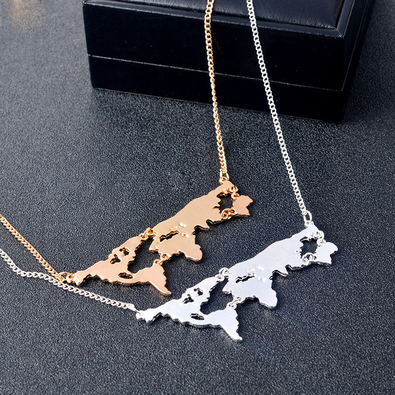 WANDERLUST VIBES World Map Necklace