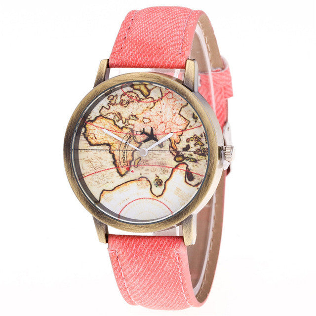 VOYAGER Vintage World Map Watch
