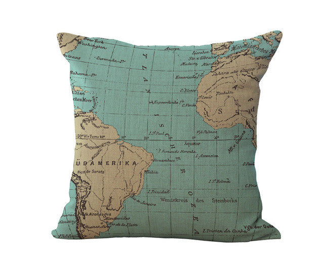 NAUTICAL World Map Cushion Cover