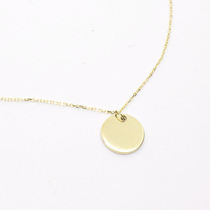 Solid Gold Disc Necklace