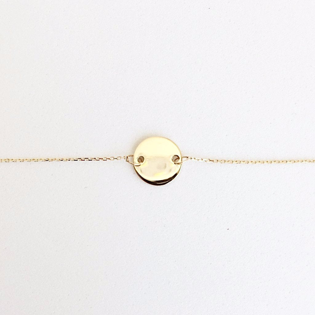 Solid Gold Disc Bracelet