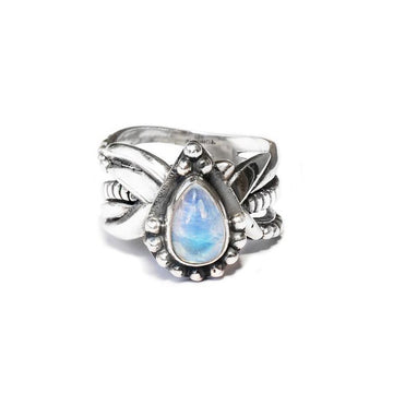 Silver ring with three bands and teardrop shaped moonstone