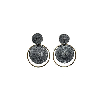 Milena Zu Disc Earrings - Gold and Grey