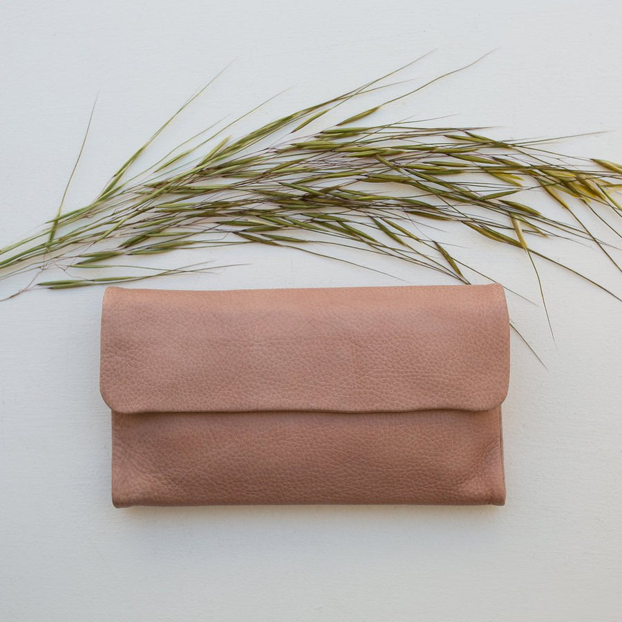 Chloe Leather Purse - Dusky Pink