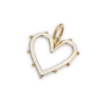 Silver cut out heart shaped charm with brass beading on edge and brass bail