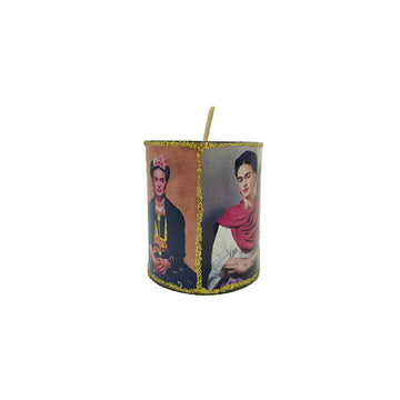Tin candle holder with 4 images of Frida Kahlo
