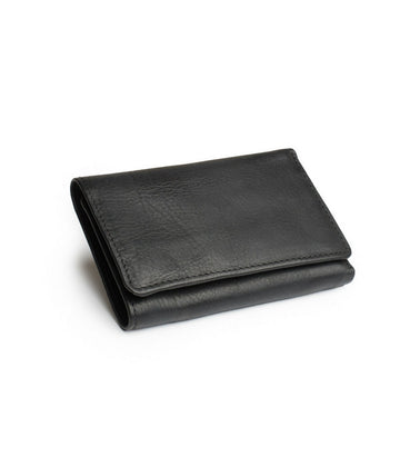 Leif Wallet in Black leather closed