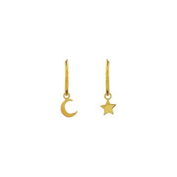 Gold Sleepers with Moon and Star charm