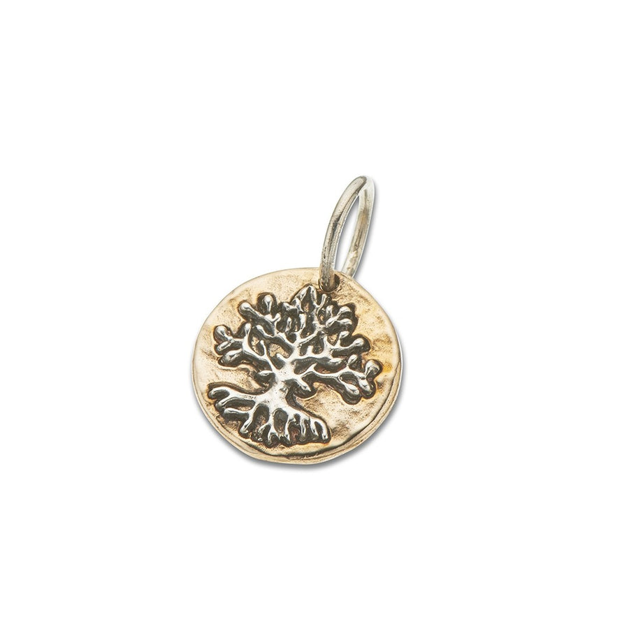 Round brass charm with sterling silver tree
