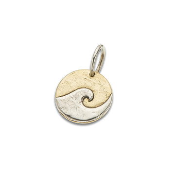 Round brass charm with silver wave