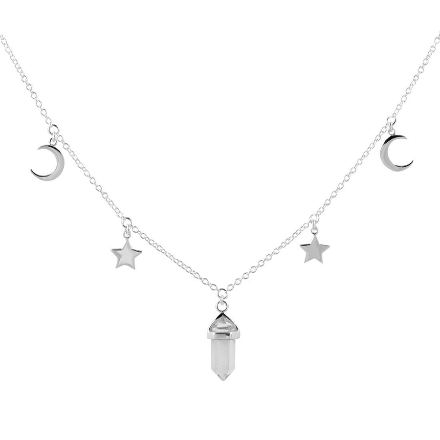 Silver fine link chain with star and moon charms and clear quartz