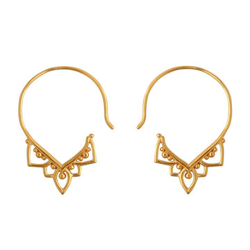 Gold open hoop earrings with v shaped filigree design at the bottom