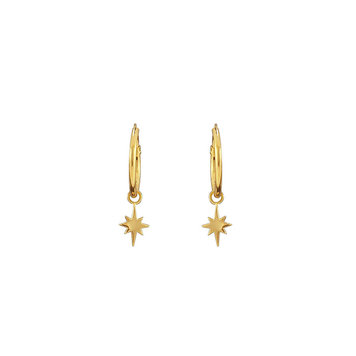 Gold sleeper hoop earrings with hanging star
