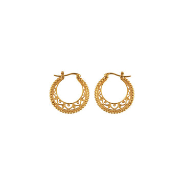 Gold hoop earrings with cutout filigree detail