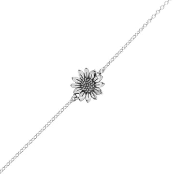 Silver chain bracelet with sunflower