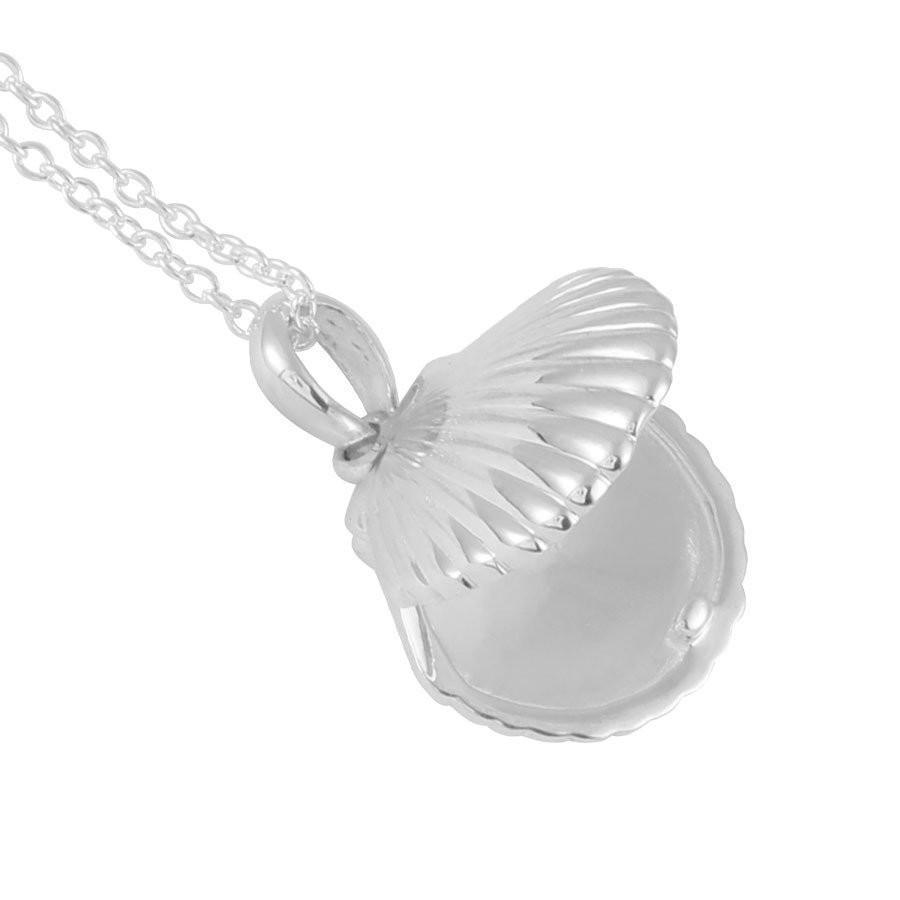 Seashell Locket Necklace - Silver