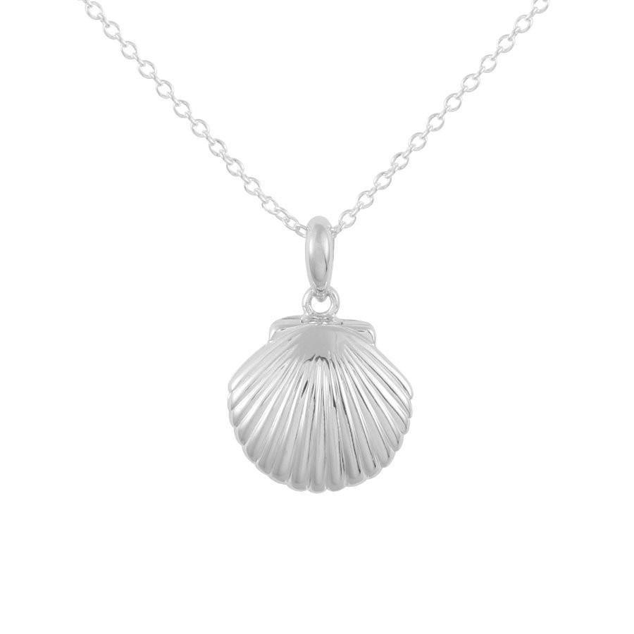 Clam Shell Locket Necklace - Silver