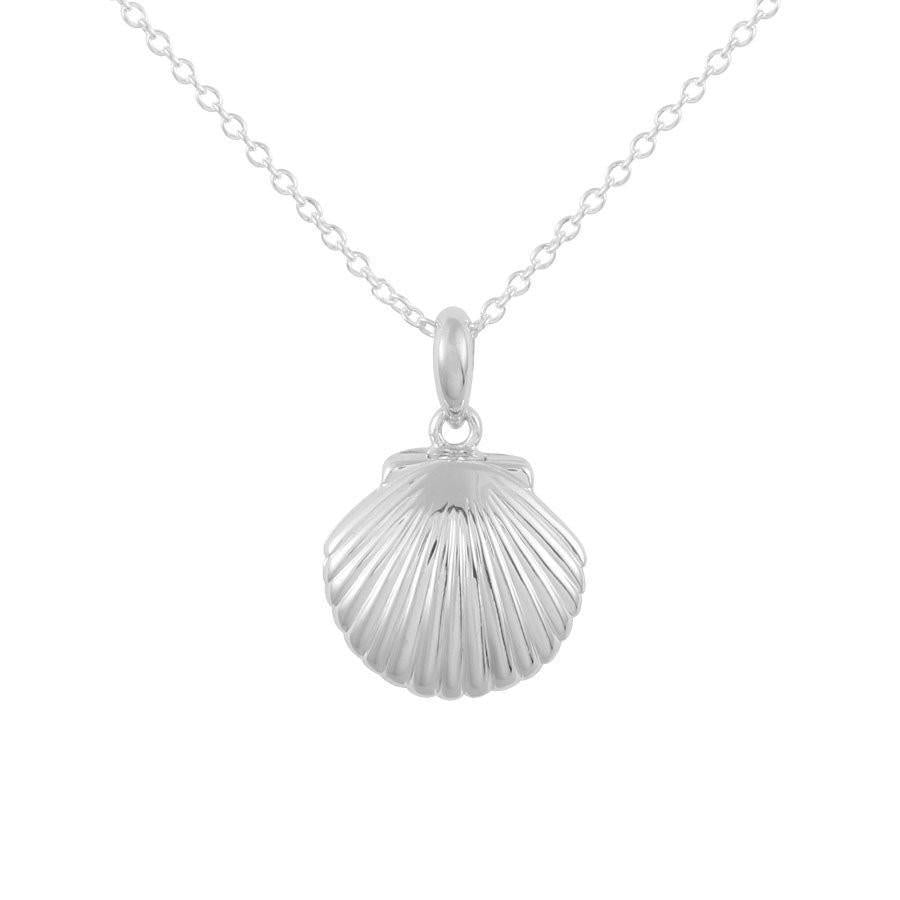 Silver chain necklace with seashell locket pendant