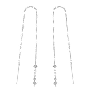 Silver chain threader earrings with two stars