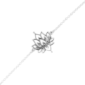 Silver chain bracelet with cut out lotus charm