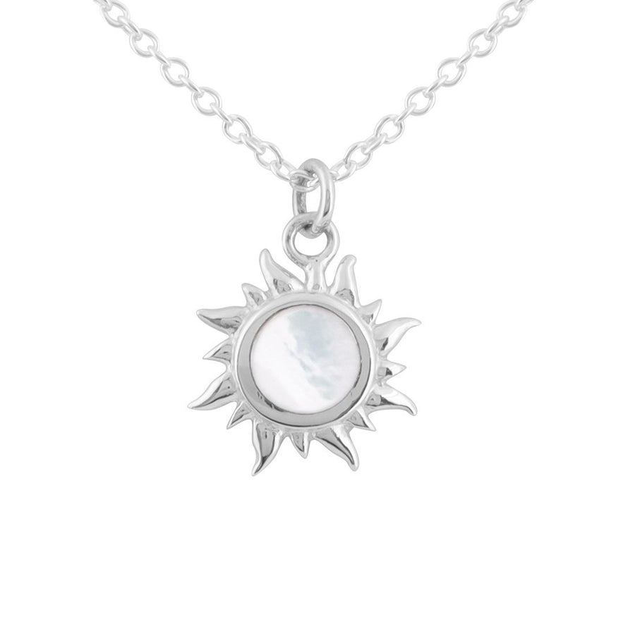 Silver chain necklace and sun pendant with mother of pearl inlay in the center