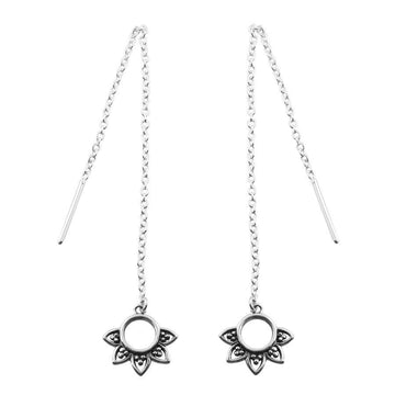 Silver chain threader earrings with an open circle with petals at the end