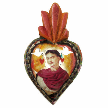 Painted wooden flaming heart with Frida Kahlo and doves
