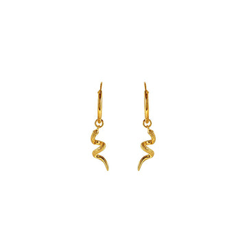 Gold sleeper earrings with snakes
