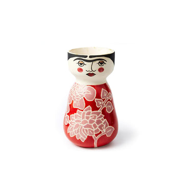 Vase with Frioda Kahlo face and red body