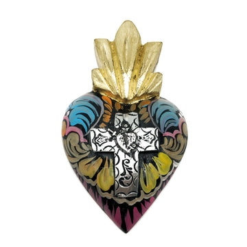 Wooden heart with colourful painted design and tin cross