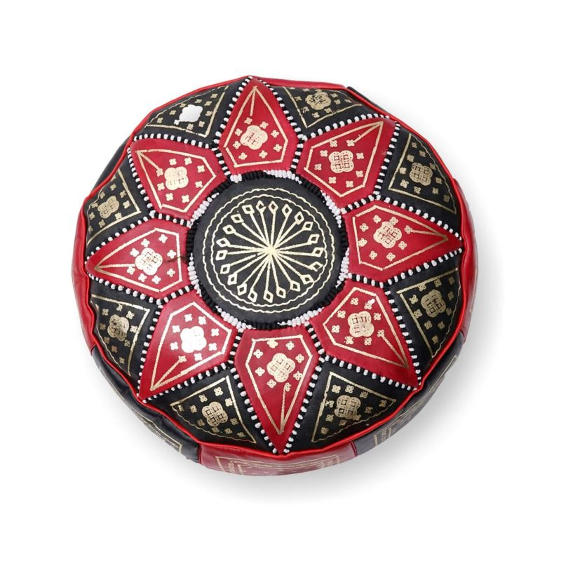 Moroccan Star Ottoman - Red and Black