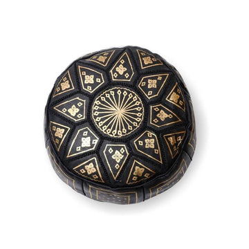 Small Moroccan Star Ottoman - Black