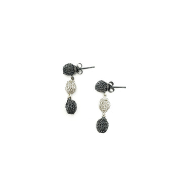 Milena Zu Triple Pod Studs - Silver and Grey