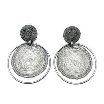 Milena Zu Large Disc Earrings - Silver and Grey