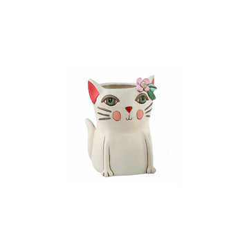 White Kitty Planter