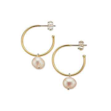 Brass hoop earrings with hanging pearl and silver posts